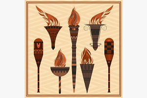 Set ornamental blazing torches