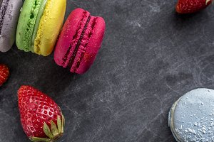 Macarons & strawberries background
