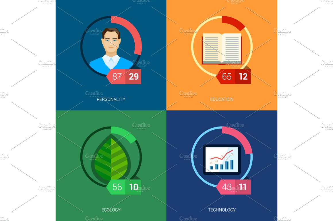 flat icon infographic template set. ~ icons ~ creative market