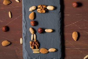 Nuts and vitamin E concept
