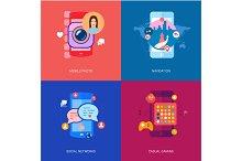 Set of flat modern icons