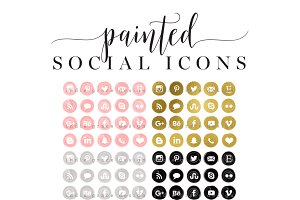 Painted Gold Foil Social Media Icons