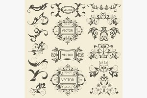 Set monograms, floral ornaments