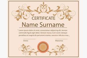 Certificate template floral ornament