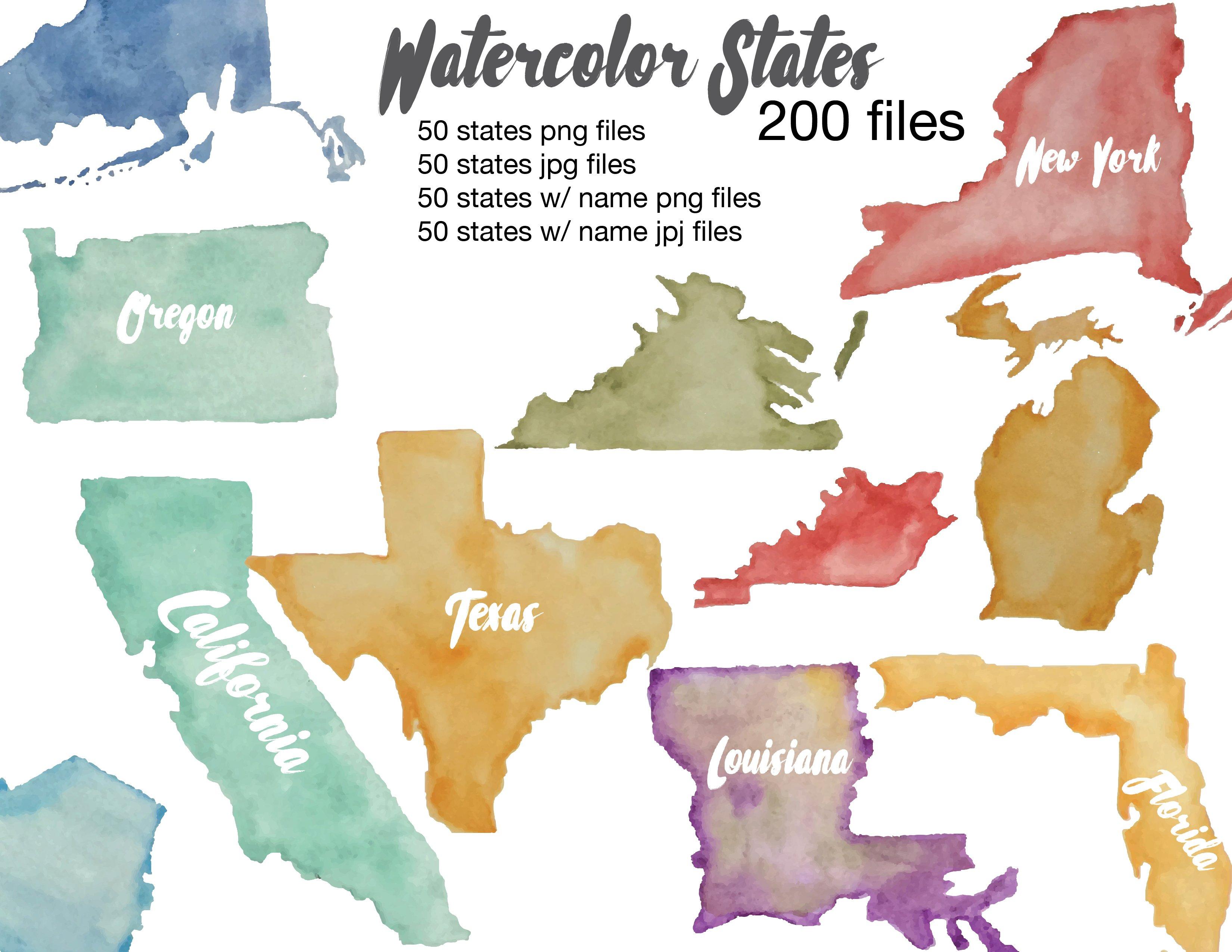 Watercolor States Illustrations Creative Market