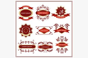Set of stickers, emblems