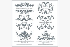 Set of decorative floral ornaments