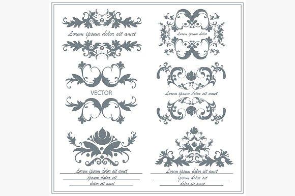 Set of decorative floral ornaments