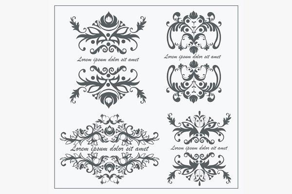 Set logos baroque ornament