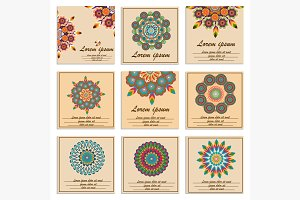 Set ornamental flower mandala