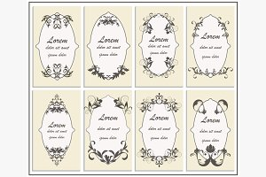 Set floral ornament frame