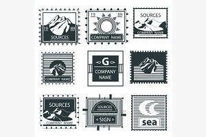 Set stamps emblem mountain