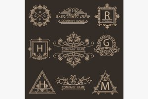 Set monogram ornamental logos