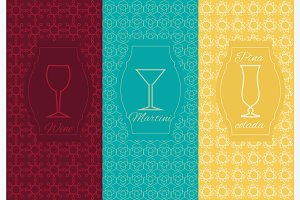 Set linear alcoholic ornament card