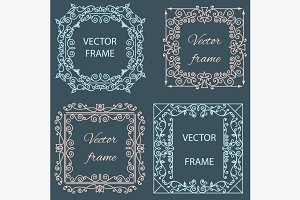 Ornamental floral frame linear style