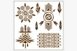 Set ornaments feathers, arrow