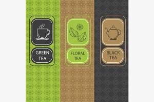 Set linear tea package, brochures