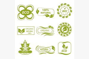 Organic, eco logo, elements flora
