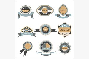 Set retro emblem, ribbon