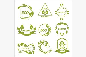 Organic products, eco labels, logo