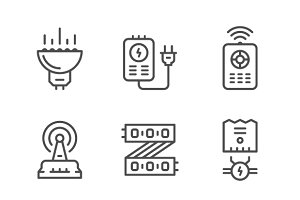 Set line icons of LED equipment
