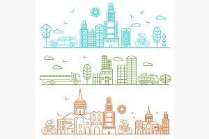 City illustration birds, buildings