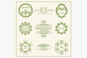 Logo, elements flora, labels