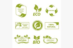 Labels, eco products, logo