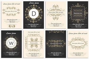 Set cards ornamental logos