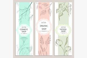 Decorative, floral, botanical banner