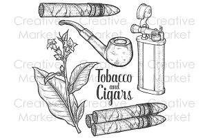 Tobacco & cigars vintage vector set