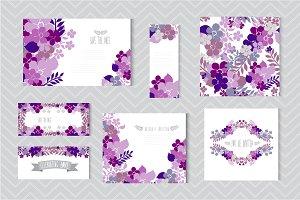 Blue Violet Floral Cards