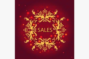Shiny sale card, floral ornament