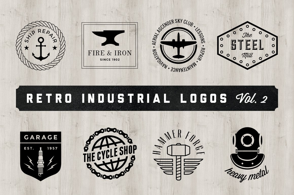 Retro industrial logos volume 2 logo templates for Industrial design company