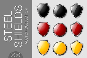 Steel shields vector set