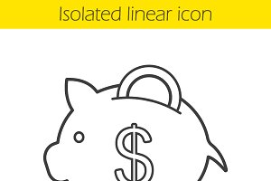 Piggy bank icon. Vector