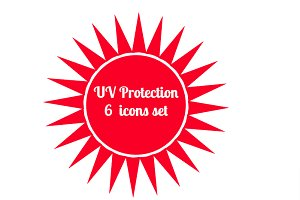 UV protection symbole 6 icons set