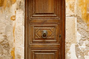 Old wooden door in Rethymno, Crete