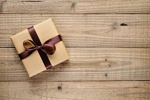 Vintage gift box with bow