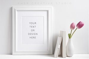 White Picture Frame Mockup Tulips