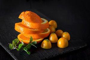 Still life of cut segments of orange