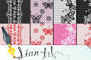 Set of Lace seamless patterns