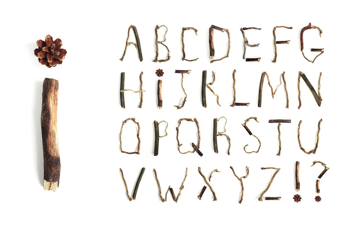 Letter Made Out Of Objects.Alphabet Made From Branches