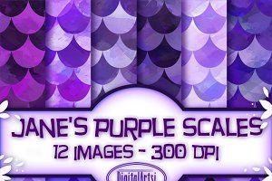 Purple Scales Seamless Patterns