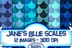 Blue Scales Seamless Patterns