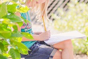 Child Schoolwork Urban Garden