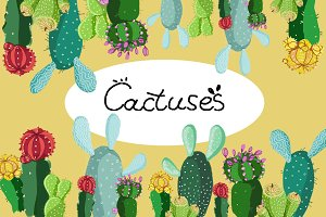 Cactuses. Hand painted floral set