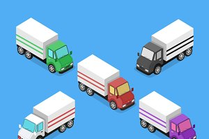 Isometric Delivery Van Car Icon