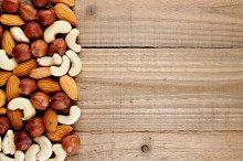 Hazelnuts, almonds and cashew nuts