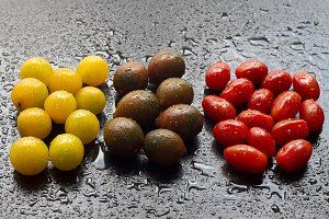 Variety of cherry tomatoes